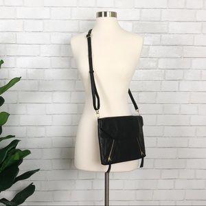 Halogen Black Leather Envelope Clutch Crossbody